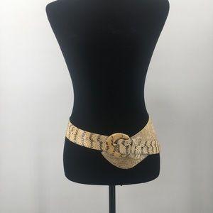 Genuine Snake Skin Belt White & Beige